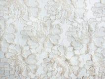 Witte van de kantstof textuur als achtergrond stock foto's