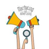 Witte vastgestelde kleurrijke megafoons houden en loupe en handen die als achtergrond op de markt brengen adversiting vector illustratie