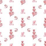 Witte vector naadloze achtergrond met hand-drawn harten Stock Afbeeldingen