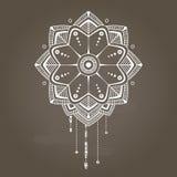 Witte verticale eenvoudige bloemenmandala Stock Illustratie