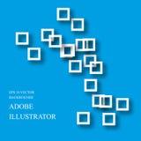 Witte vierkanten op een blauwe achtergrond Royalty-vrije Stock Afbeeldingen