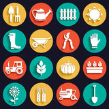 Witte vlakke landbouw, landbouwbedrijf en tuin geplaatste pictogrammen Stock Fotografie