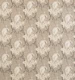 Witte Vogel op Bloemenpatroon Grey Background Wallpaper Swatch Royalty-vrije Stock Fotografie