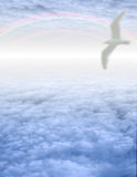 Witte Vogel in Wolken stock illustratie