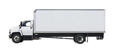Witte vrachtwagen die op wit wordt geïsoleerdk Royalty-vrije Stock Afbeelding