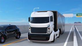 Witte vrachtwagen die zwart SUV op de weg overgaan royalty-vrije illustratie