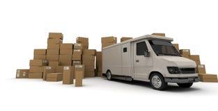 Witte vrachtwagen en Dozen Stock Afbeeldingen