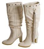 Witte vrouwelijke laarzen. Royalty-vrije Stock Afbeeldingen
