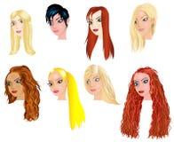 Witte Vrouwengezichten 2 stock illustratie