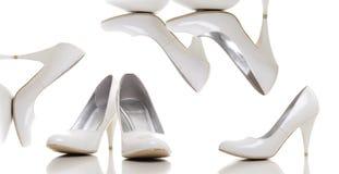 Witte vrouwenschoenen royalty-vrije stock afbeeldingen