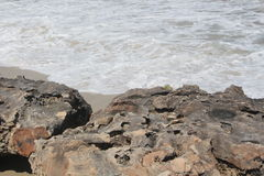 Witte Wasoceaan en Rots Stock Foto