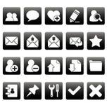 Witte Webpictogrammen op zwarte vierkanten Royalty-vrije Stock Foto's