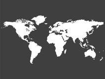 Witte wereldkaart die op grijze achtergrond wordt geïsoleerdd vector illustratie