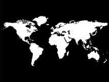 Witte wereldkaart die op zwarte achtergrond wordt geïsoleerdd vector illustratie
