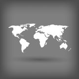 Witte wereldkaart op grijze achtergrond Royalty-vrije Stock Foto's