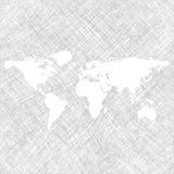 Witte wereldkaart over grungestrepen vector illustratie