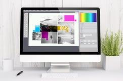 witte werkruimte met computer grafisch ontwerp Stock Afbeelding