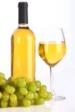 Witte wijn en druif Stock Afbeelding
