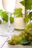 Witte wijn en druiven royalty-vrije stock afbeeldingen