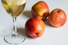Witte wijn en rode appelen Stock Foto's
