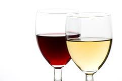 Witte wijn en rode wijn Royalty-vrije Stock Foto's
