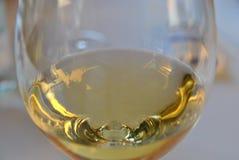Witte wijn met nagedacht in een glas in een zonlicht stock afbeeldingen