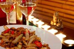 Witte wijn met salade Royalty-vrije Stock Foto's