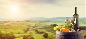 Witte wijn met vat op wijngaard in Italië stock afbeeldingen