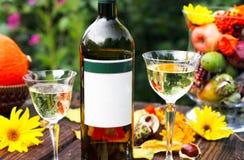 Witte wijn op het terras Stock Fotografie