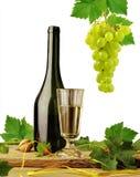 Witte wijn op witte achtergrond Stock Afbeeldingen