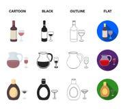 Witte wijn, rode wijn, jenever, sangria Pictogrammen van de alcohol de vastgestelde inzameling in beeldverhaal, zwarte, overzicht royalty-vrije illustratie