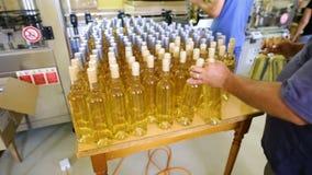 Witte wijnflessen in een wijnmakerij stock video