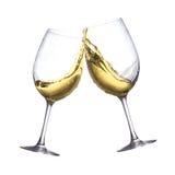 Witte wijnglazen Stock Foto