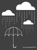 Witte Wolk met de daling van de Regen op paraplu Stock Foto