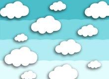 Witte wolk op kleurrijke blauwe achtergrond royalty-vrije stock fotografie