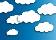 Witte wolk op kleurrijke blauwe achtergrond royalty-vrije stock foto's