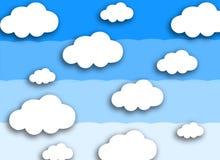 Witte wolk op kleurrijke blauwe achtergrond stock foto's