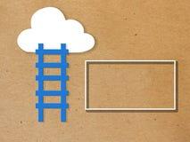 Witte wolk op kleurrijke blauwe achtergrond stock afbeeldingen