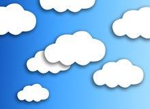 Witte wolk op kleurrijke blauwe achtergrond royalty-vrije stock afbeelding