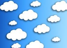 Witte wolk op kleurrijke blauwe achtergrond stock afbeelding