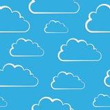 Witte wolken op blauw. Vector naadloos patroon Stock Foto's