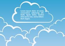 Witte wolkenachtergrond. Vectorillustratie Stock Foto