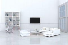Witte woonkamer in gelukkige dag Royalty-vrije Stock Afbeeldingen