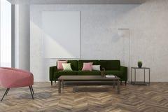Witte woonkamer, roze leunstoel Royalty-vrije Stock Fotografie