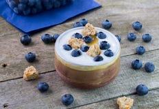 Witte yoghurt met bosbessen in ceramische kom stock foto