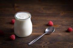 Witte yoghurt met frambozen in glaskom royalty-vrije stock foto