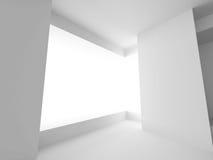 Witte Zaal met Vensterlicht Abstracte Binnenlandse Achtergrond Royalty-vrije Stock Foto