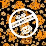 Witte zegel met drie pompoenen en inschrijving Gelukkig Halloween Stock Fotografie
