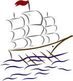 Witte zeilboot op de golven Royalty-vrije Stock Fotografie