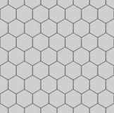Witte zeshoeken van steen, staal Naadloze VectorTextuur Het naadloze patroon van de technologie Royalty-vrije Stock Afbeeldingen